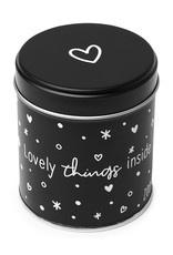 Cadeaublikje mat zwart 'Lovely things inside'