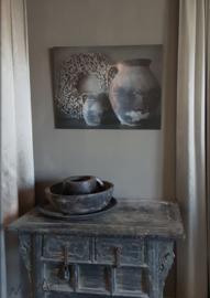 Deco bord 2 stenen potten XXL 60 x 80 cm