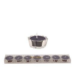 HS- Flower Votive kaarsjes zwart - set van 6