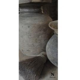 Landelijk kaartje houten pot