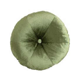 Velvet round cushion moss-green