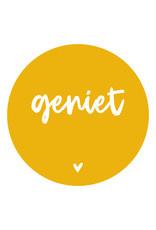 Muurcirkel/tuincirkel okergeel met tekst 'Geniet'