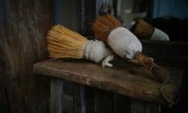 Originele houten stoffer