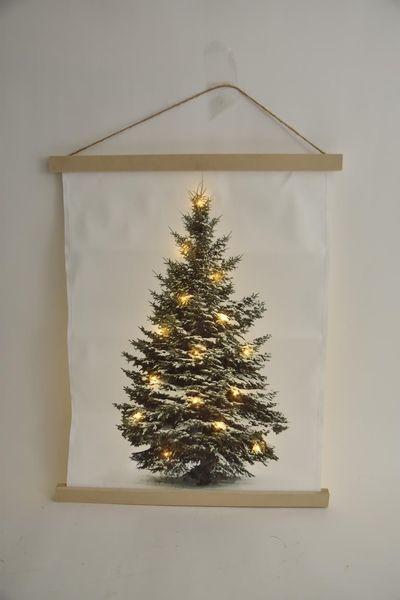 Canvasdoek kerstboom 15 led