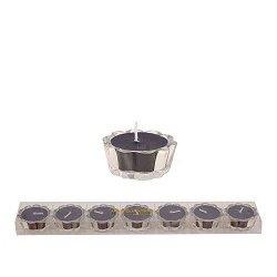 HS- Flower Votive kaarsjes zwart - set van 6