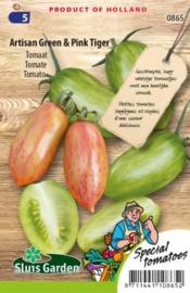 Roma tomaat 'Artisan Green' & 'Pink Tiger', Solanum lycopersicum
