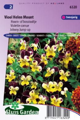 Viola cornuta 'Helen Mount', Bosviooltje