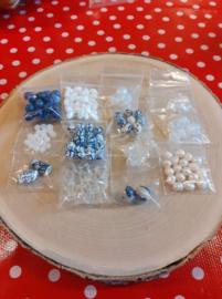 Kralenpakket delfts blauw/zilverkleur