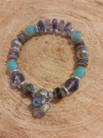 Armband met hematiet en blueberry quartz