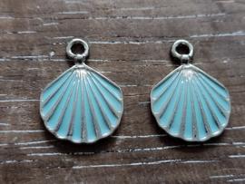 Zilver-blauw schelp/2 stuks