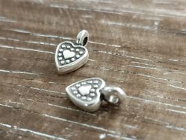 DQ metaal hartje Antiek zilver/3 stuks