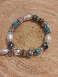 Armband met hematiet & zoetwaterparels