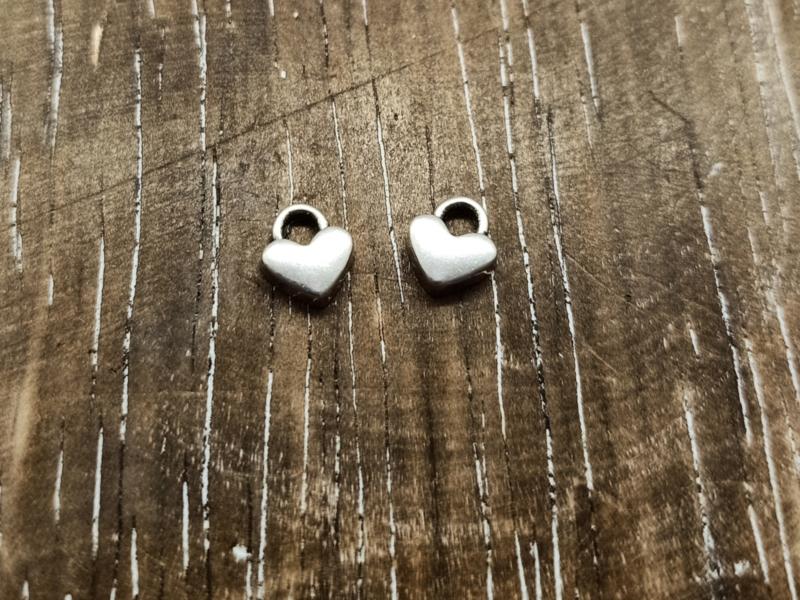 DQ metaal hartje Antiek zilver/6 stuks