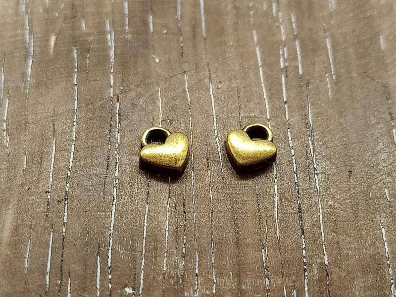 DQ metaal hartje antiek goud/per 6