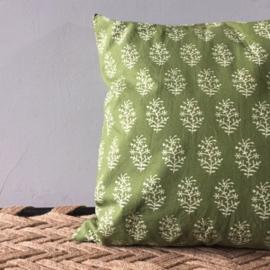 Kussen groen met print - 50 x 50 cm