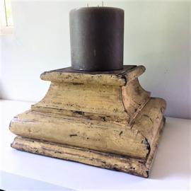 Oude houten kandelaar India XL