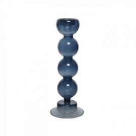 Glazen kandelaar blauw - BOB