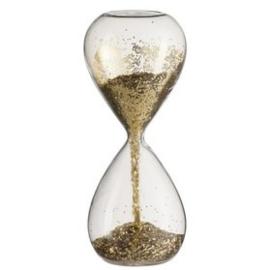 Zandloper Glas met gouden glitters