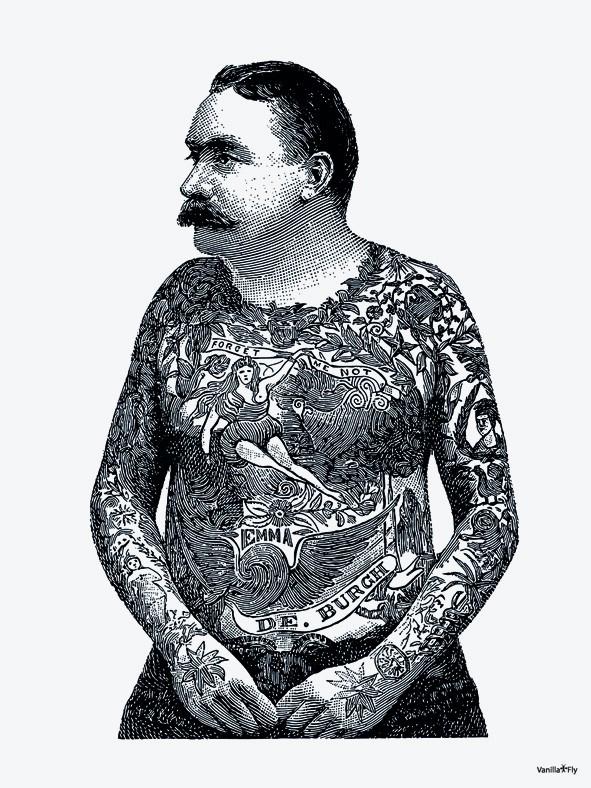 Vanilla Fly Poster - Body Tattoo - 30x40 cm - VERKOCHT
