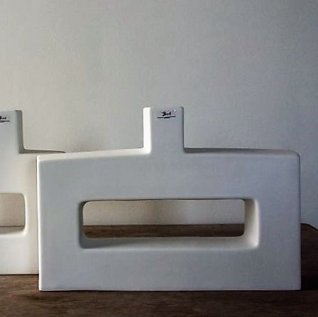 Mid century mat witte vaas - BOB Miami 30 cm