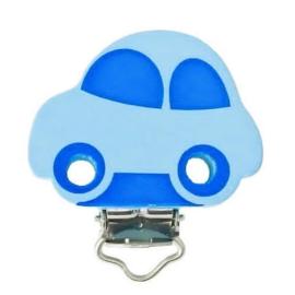 Speenclip Motief Auto Pastel Blauw/Midden Blauw 30x40mm