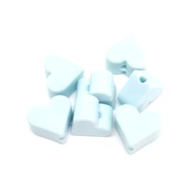 Silicone Kraal Hartje voor Speenkoord Licht Blauw 10x8mm