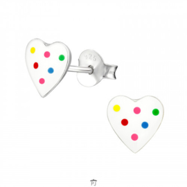Zilveren Kinder Oorbellen Hartje wit met gekleurde stippen