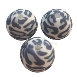 Siliconen Kraal Luipaard Panter Blauw/Grijs/Wit 15mm   kralen voor het maken van een siliconen sleutelhanger