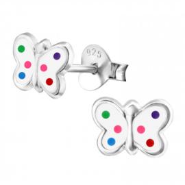 Zilveren Kinder Oorbellen Vlinder Wit met gekleurde stippen