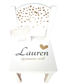 Geboorte Stoeltje met naam en geboortedatum model Lauren | stoeltje van geboortekaartje