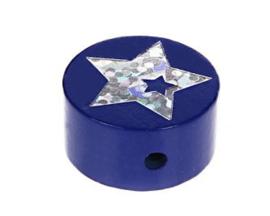Schijfkraal Ster Glitter Donker Blauw 20mm