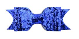 Haarstrik met alligatorklip Blauw Glitter 9.5cm