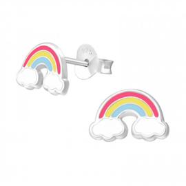 Zilveren Kinder Oorbellen Regenboog met wolkjes