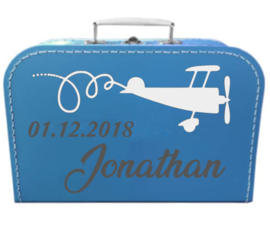 Kinder Koffertje met naam, geboortedatum en vliegtuig model Jonathan, 25cm