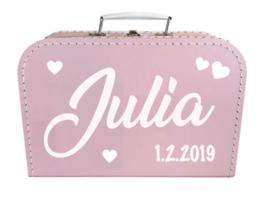 Kinder Koffertje met naam en geboortedatum model Julia, 25cm