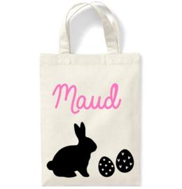 Katoenen tas voor Pasen met naam, paashaas en eitjes | Naturel