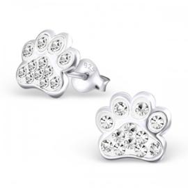 Zilveren Kinder Oorbellen Hondepootje Kristal