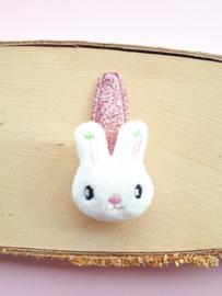 Haarspeldje Glitter Roze 5cm met stoffen konijntje