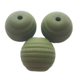 Siliconen Ribbel kraal rond 15mm Army Groen | Kralen voor het maken van een speenketting