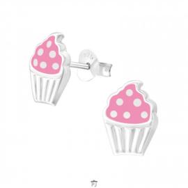 Zilveren Kinder Oorbellen Cupcake Roze