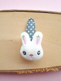 Haarspeldje Grijs 5cm met stoffen konijntje