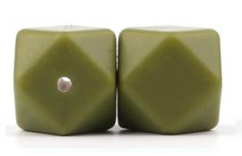 Siliconen Kraal Hexagon 17mm Army Groen