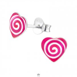 Zilveren Kinder Oorbellen Hartje Roze met swirl