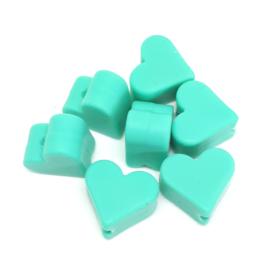 Silicone Kraal Hartje voor Speenkoord Turquoise 10x8mm