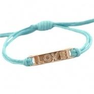 Armbandje Love Blauw met waxkoord schuifknoop