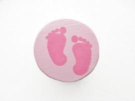 Speenkoord Kraal Babyvoetjes Pastel Roze/Fuchsia Roze 16mm