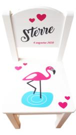 Geboorte Stoeltje Flamingo| Kindersstoeltje met naam en Flamingo afbeelding