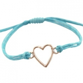 Armbandje Blauw hart met schuifknoop