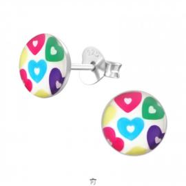 Zilveren Kinder Oorbellen Rond met gekleurde Hartjes