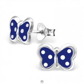 Zilveren Kinder Oorbellen Vlinder Blauw met stippen
